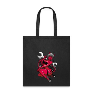 Devil Pin-Up Girl with Big Wrench - Tote Bag