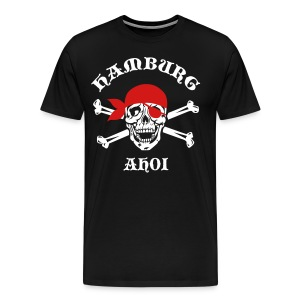 HAMBURG AHOI Skull Crossbones City Pirate Blood Man Woman Design Tee T-Shirt - Men's Premium T-Shirt