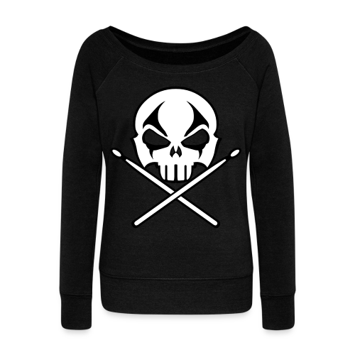 Rock & Roll Drummer Shirt Women's Metal Music Sweatshirt - Women's Wideneck Sweatshirt