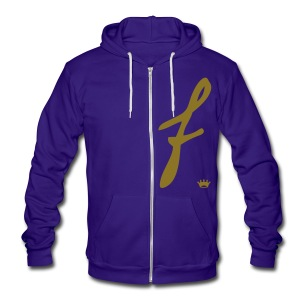 metallic gold f. zip - Unisex Fleece Zip Hoodie by American Apparel