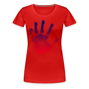 Ladies Red Red/Blue Handprint - Women's Premium T-Shirt