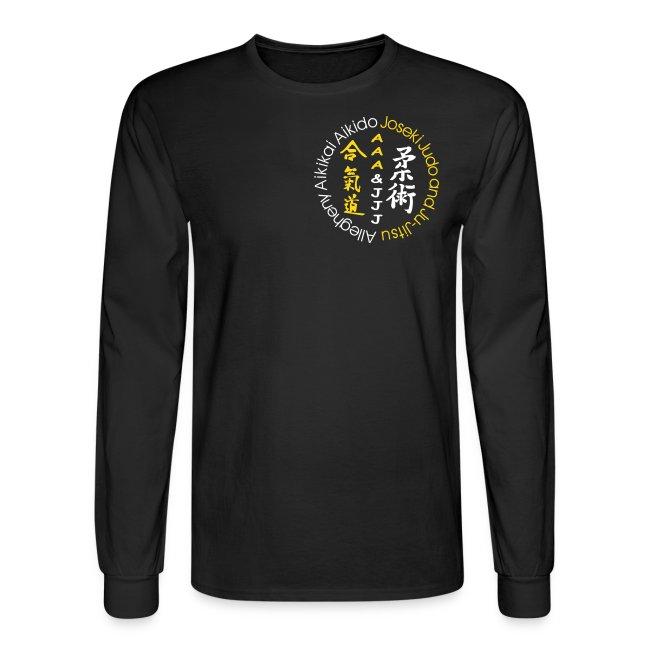 Men's long sleeve t-shirt white/gold logo white/gold artwork white sleeve writing