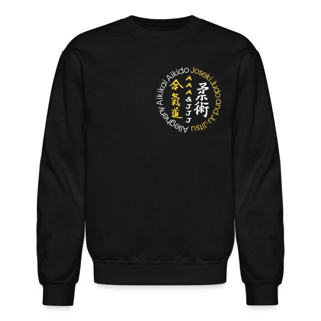 Men's crewneck sweatshirt white/gold logo white/gold artwork white sleeve writing
