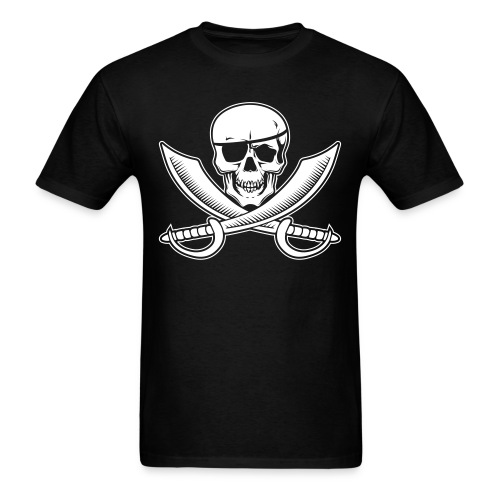 Jolly Rogers Pirate Flag with Skull and Swords - Men's T-Shirt