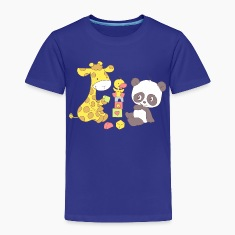 Giraffe and Panda playing with Blocks Baby & Toddler Shirts