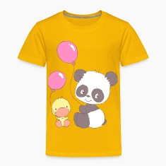 Panda and Duckling with Balloons Baby & Toddler Shirts