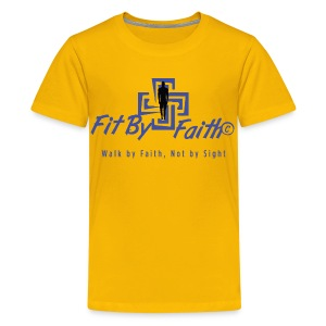 Fit By Faith Short Sleeve Yellow Logo Shirt - Kids' Premium T-Shirt