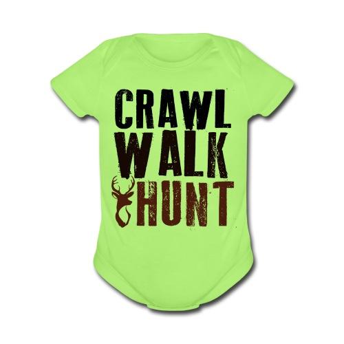 Crawl, Walk Hunt Onesie - Organic Short Sleeve Baby Bodysuit