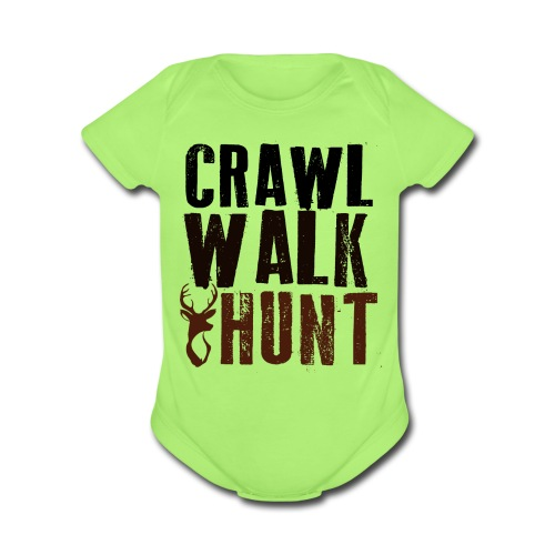 Crawl, Walk Hunt Onesie - Short Sleeve Baby Bodysuit