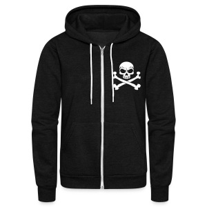 Custom Pirate Skull & Crossbones Jolly Rogers Flag Zip Hoodies & Jackets - Unisex Fleece Zip Hoodie by American Apparel