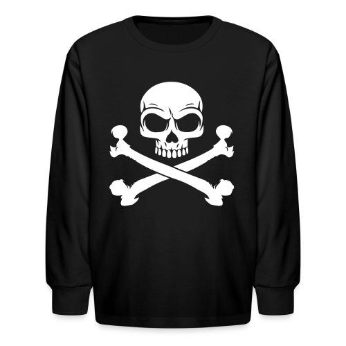 Skull and Crossbones Pirate Skull - Kids' Long Sleeve T-Shirt