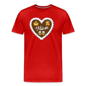Lebkuchen WIESN Gingerbread Edelweiss Love Heart Alps Alpine Design Men's Tee - Men's Premium T-Shirt