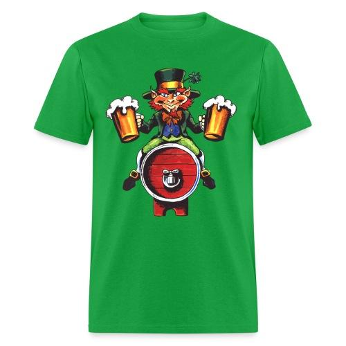 Leprechaun on a Keg - Men's T-Shirt