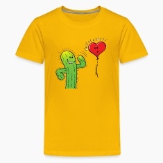Cactus Flirting with a Heart Balloon Kids' Shirts