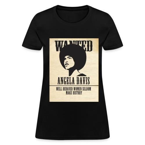 Angela Davis -Wanted (white quote) - Women's T-Shirt