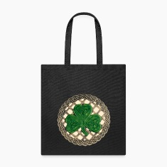 Beige Celtic Shamrock Tote Bag