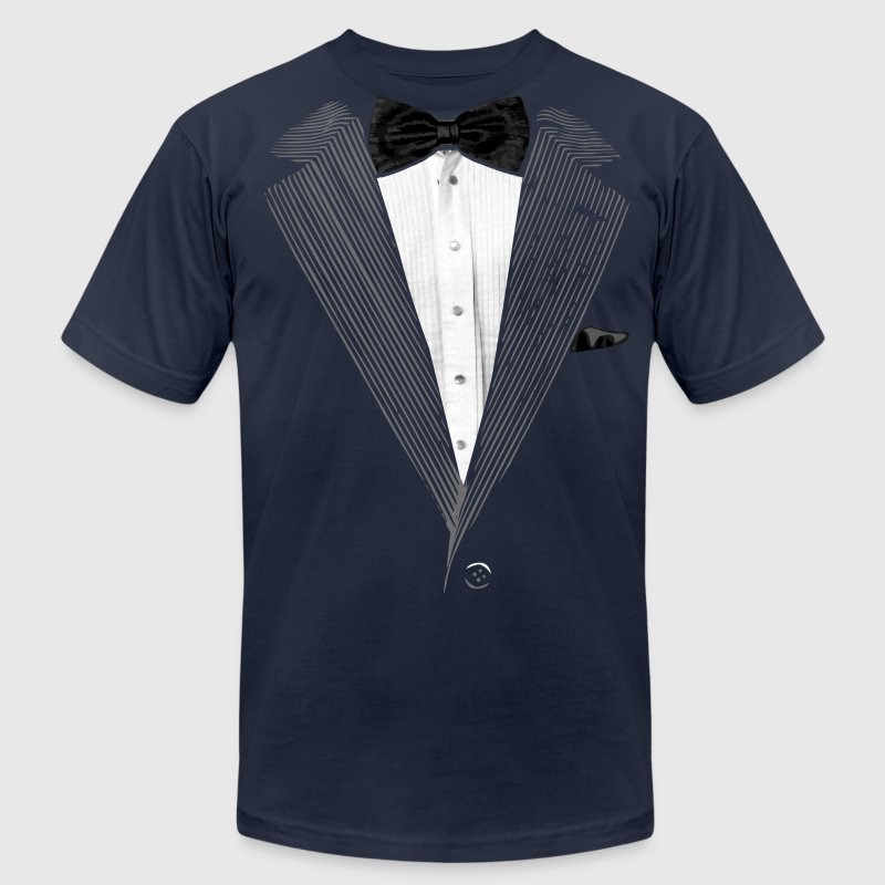 Realistic Tuxedo bow tie and sear sucker T-Shirts - Men's T-Shirt by American Apparel