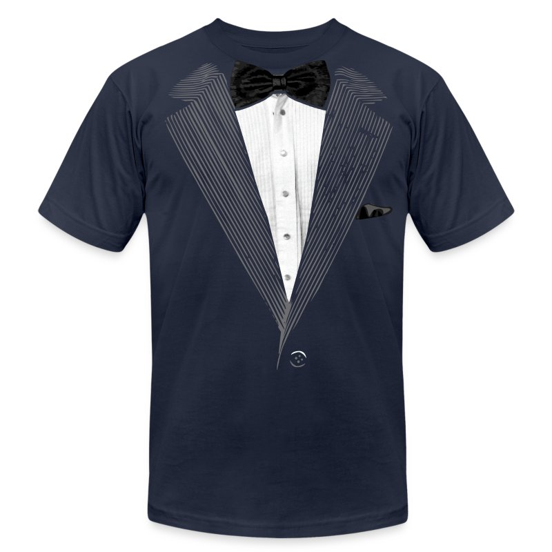 Realistic tuxedo bow tie and sear sucker t shirt spreadshirt for Make your own tuxedo t shirt