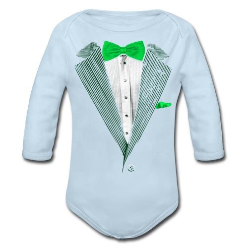 St.Patrick's Day Green Tuxedo Costume - Organic Long Sleeve Baby Bodysuit