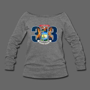 313 Michigan Mi Flag  - Women's Wideneck Sweatshirt