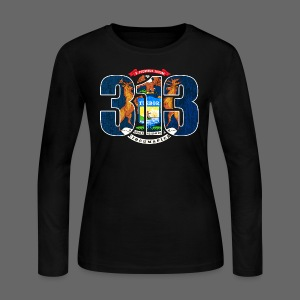 313 Michigan Mi Flag  - Women's Long Sleeve Jersey T-Shirt