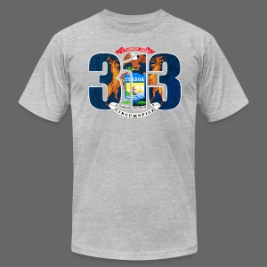 313 Michigan Mi Flag  - Men's T-Shirt by American Apparel