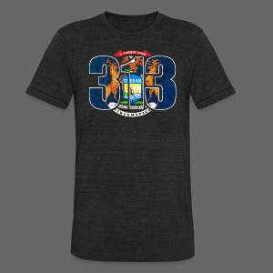 313 Michigan Mi Flag  - Unisex Tri-Blend T-Shirt by American Apparel