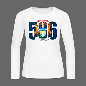 586 Michigan Flag - Women's Long Sleeve Jersey T-Shirt