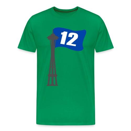 Seahawks Space Needle 12th Flag - Men's Premium T-Shirt