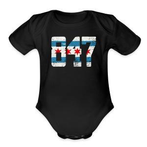 847 Chicago Flag - Short Sleeve Baby Bodysuit