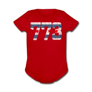 773 Chicago Flag - Short Sleeve Baby Bodysuit