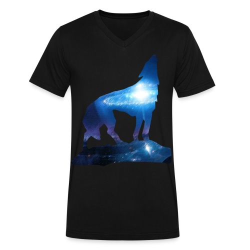 Star Wolf (Lucid Designs) - Men's V-Neck T-Shirt by Canvas