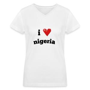 I Love Nigeria - Women's V-Neck T-Shirt
