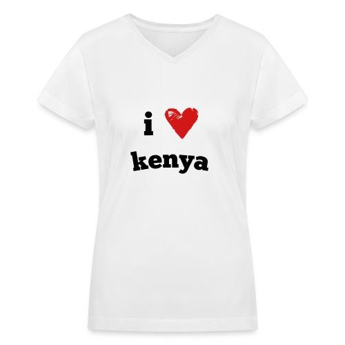 I Love Kenya - Women's V-Neck T-Shirt