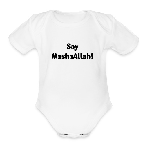 Say MashaAllah white - Organic Short Sleeve Baby Bodysuit