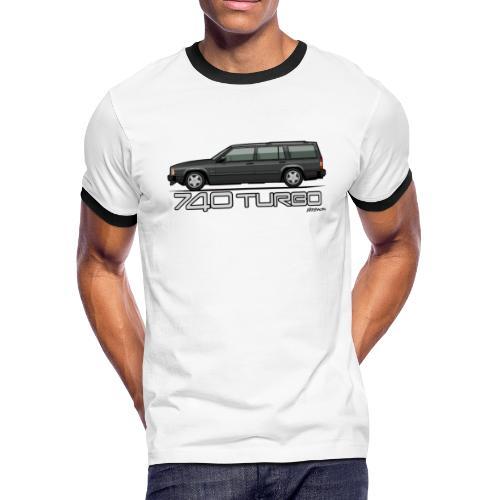 Volvo 740 745 Turbo Wagon Badge Dark Grey Metallic - Men's Ringer T-Shirt