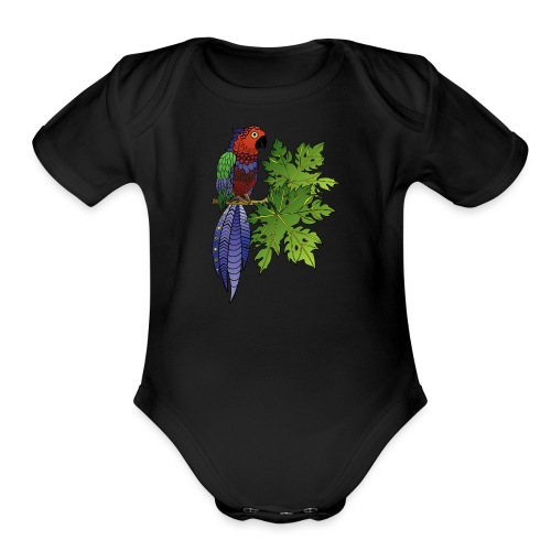 Parrot Short Sleeve Baby Bodysuit by South Seas Tees - Organic Short Sleeve Baby Bodysuit