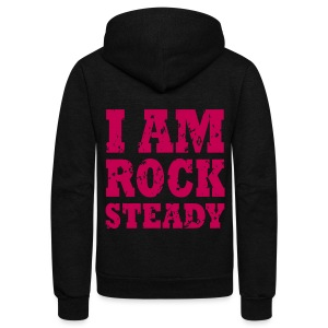 I Am Rock Steady Hoodie PINK  - Unisex Fleece Zip Hoodie by American Apparel