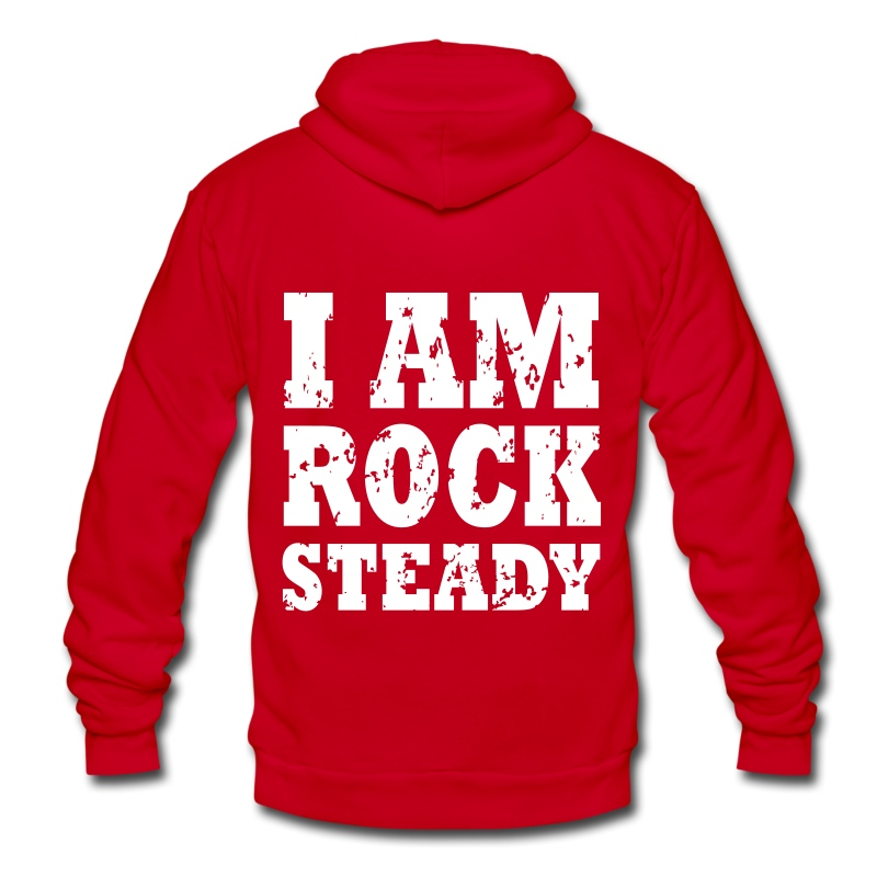 I Am Rock Steady Hoodie WHITE - Unisex Fleece Zip Hoodie by American Apparel