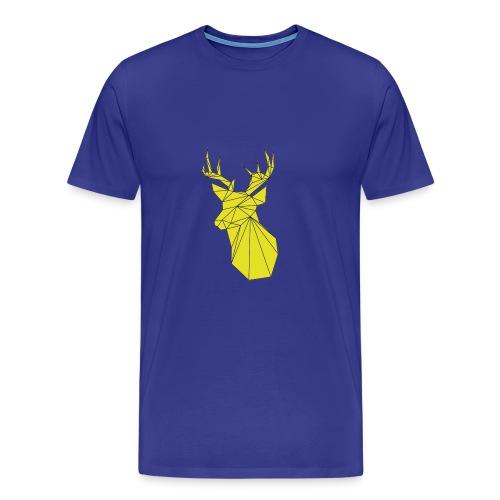 Blue Gold Deer Head - Men's Premium T-Shirt