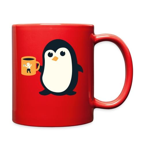 Cute Penguin Coffee - man on mug - Full Color Mug