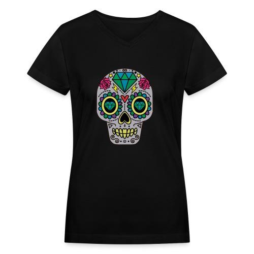 Diamond Rose Sugar Skull - Day Of The Dead - Women's V-Neck T-Shirt
