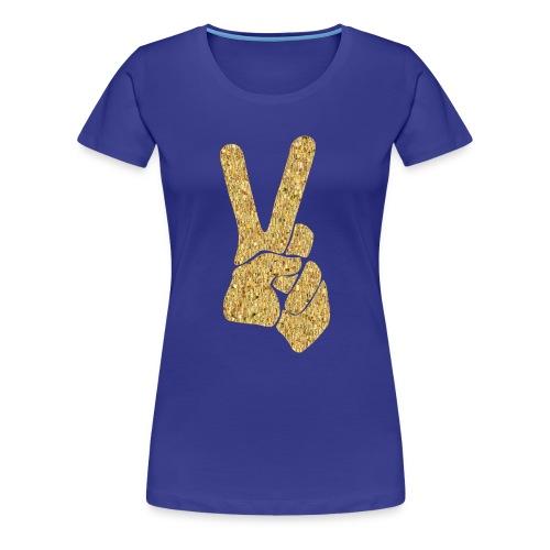 Gold Peace Sign / BLUE / Womens Tshirt - Women's Premium T-Shirt