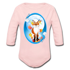 Fall Fox and Wolf Moon-2 - Long Sleeve Baby Bodysuit