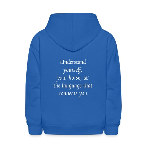 Large white logo on front, slogan on back - Kids' Hoodie