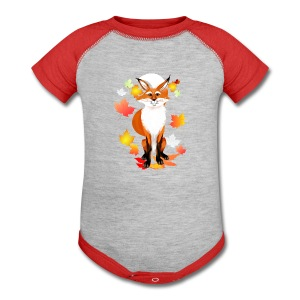 Happy Fox in Fall - Baby Contrast One Piece