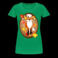 T-Shirts ~ Women's Premium T-Shirt ~ Happy Fox in Fall oval