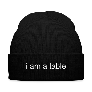 Table Beanie  - Knit Cap with Cuff Print