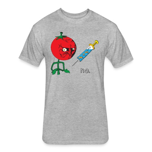 no. Anti-GMO Tomato Meme - Fitted Cotton/Poly T-Shirt by Next Level