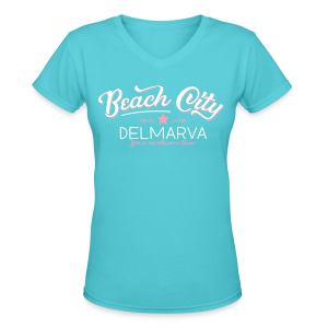 Beach City Vintage Girly - Women's V-Neck T-Shirt